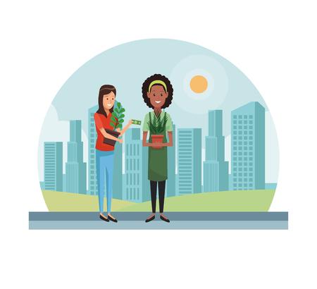 Woman gardener selling plant pots at city vector illustration graphic design Stockfoto - 110328590