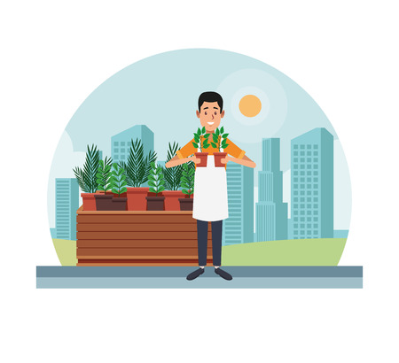 Gardener with plants stand at city vector illustration graphic design