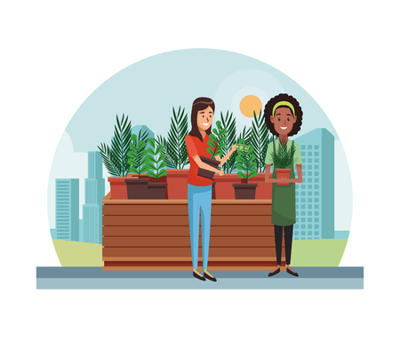 Woman gardener selling plant pots at city vector illustration graphic design