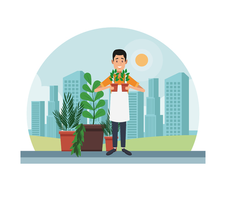Gardener with plants on stand at city vector illustration graphic design
