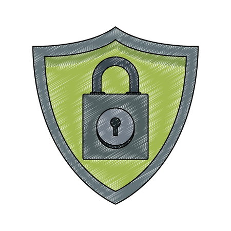 Padlock on shield emblem vector illustration graphic design 向量圖像