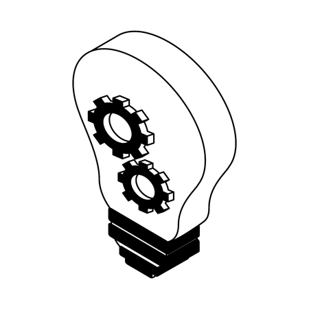 Bulb with gears inside vector illustration graphic design