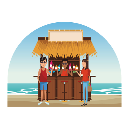 people buying cocktails at beach kiosk vector illustration graphic design