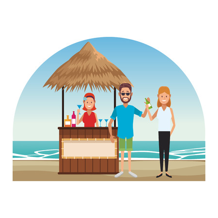 couple drinking cocktail at beach kiosk vector illustration graphic design