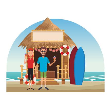 Couple eating icecream at beach kiosk vector illustration graphic design