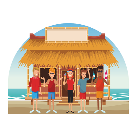 people eating icecream and drinks cocktails at beach kiosk vector illustration graphic design Illustration