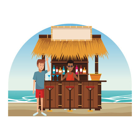 man buying cocktails at beach kiosk vector illustration graphic design