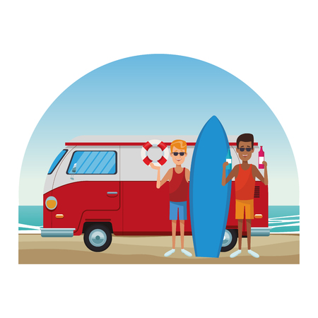 Young mens and retro van having fun at beach cartoons vector illustration graphic design
