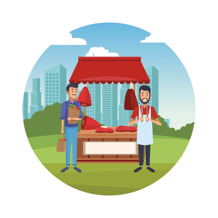 Butchery stand at city park with owner and customer round icon vector illustration graphic design vector illustration graphic design Illustration