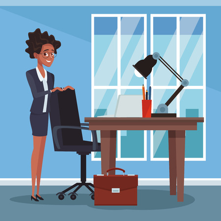 Businesswoman woking at office vector illustration graphic design