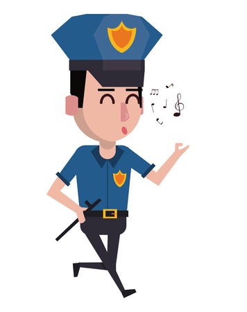 Police officer whistling cartoon vector illustration graphic design