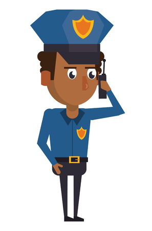 Police talking on radio officer cartoon vector illustration graphic design