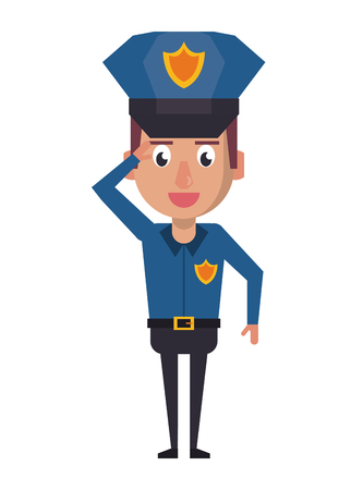 Police greeting officer cartoon vector illustration graphic design Vectores
