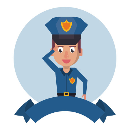 Police greeting and blank ribbon banner vector illustration graphic design