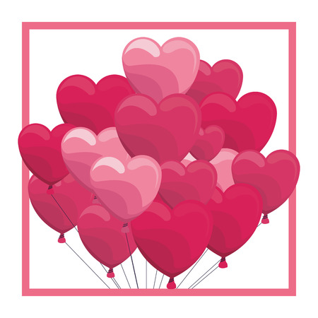 Heart shaped balloon on frame vector illustration graphic design