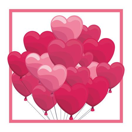 Heart shaped balloon on frame vector illustration graphic design