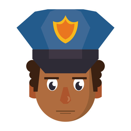 Police face cartoon vector illustration graphic design