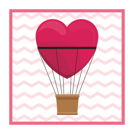 Hot air balloon heart shaped on frame vector illustration graphic design