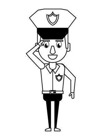 Police greeting officer cartoon vector illustration graphic design Stock Illustratie