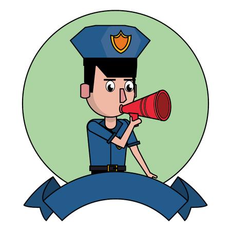 Police talking on bullhorn and blank ribbon banner vector illustration graphic design