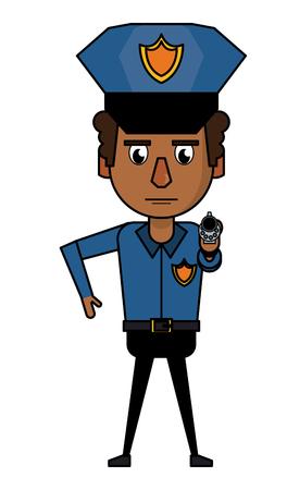 Police officer pointing with gun cartoon vector illustration graphic design Illustration