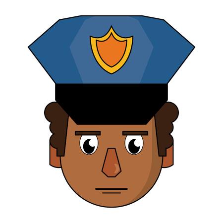 Police face cartoon vector illustration graphic design