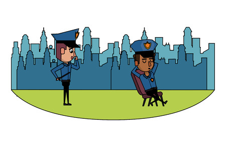 Cops in the city seated on chair cartoons scenery vector illustration graphic design