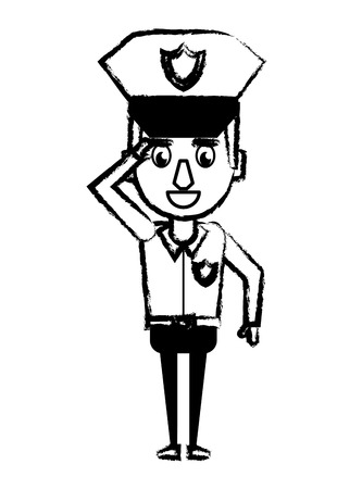 Police greeting officer cartoon vector illustration graphic design Illustration