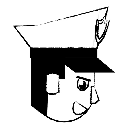 Police face sideview cartoon vector illustration graphic design