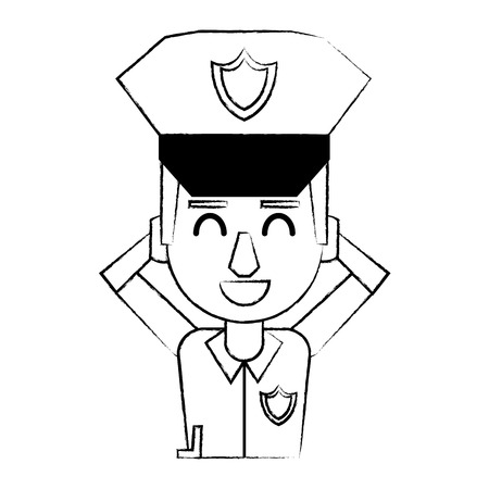 Police relax and smiling profile cartoon vector illustration graphic design