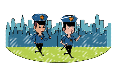 Cops in the city walking and whistling cartoons scenery vector illustration graphic design