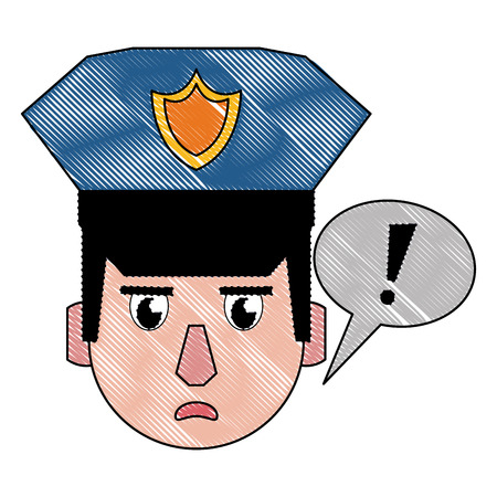 Police face calling attention cartoon vector illustration graphic design