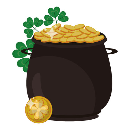 Pot with coins and clovers vector illustration graphic design