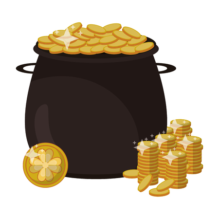 Pot with coins isolated vector illustration graphic design