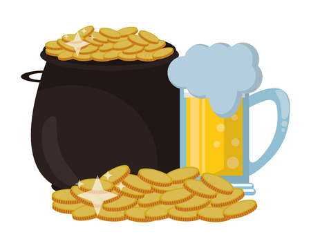 Pot coins with beer vector illustration graphic design