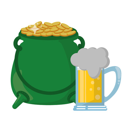 Pot with coins and beer vector illustration graphic design Illustration
