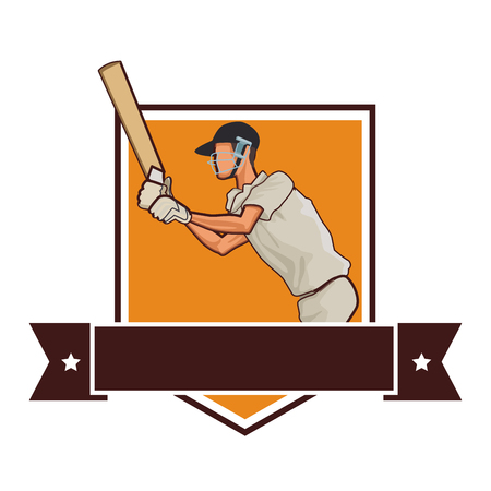 Cricket player with bat on badge with ribbon banner vector illustration graphic design