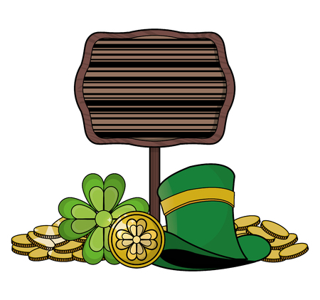 Elf hat with wooden sign and coins vector illustration graphic design Ilustração