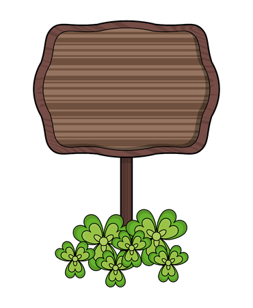 Wooden sign and clover leaves vector illustration graphic design