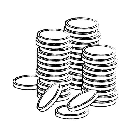 Coins stacked isolated vector illustration graphic design Ilustração