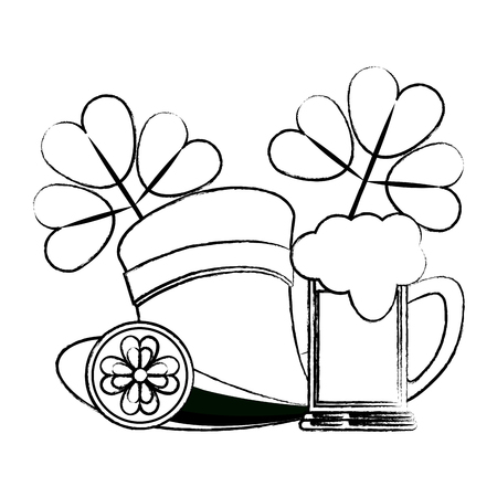 Elf hat with beer and clovers vector illustration graphic design