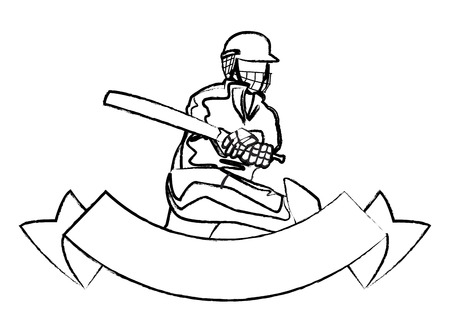 Cricket player with bat and blank ribbon banner vector illustration graphic design