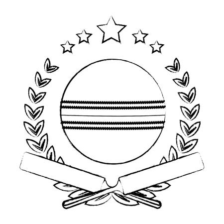Cricket ball on wreaht with stars vector illustration graphic design Ilustração