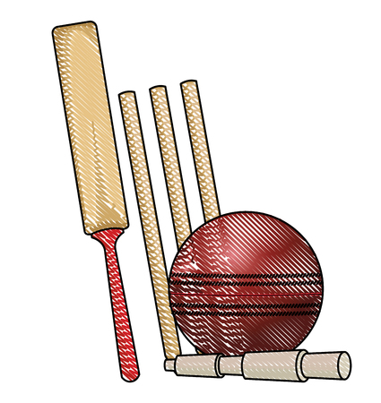 Cricket racket and ball equipment vector illustration graphic design