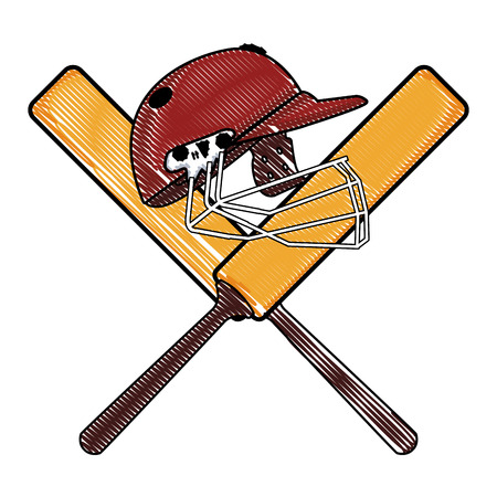 Cricket helmet on bats crossed vector illustration graphic design