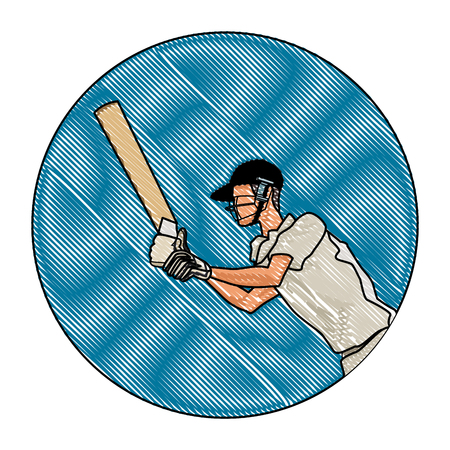 Cricket player with bat round icon vector illustration graphic design
