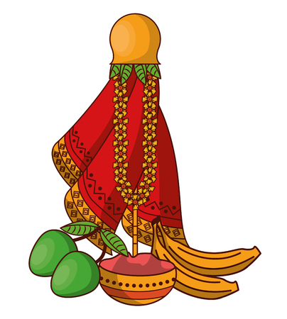 Ugadi indian jar and fruits elements vector illustration graphic design