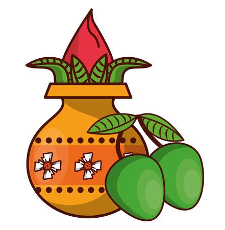 Ugadi indian jar with flower and mangos elements vector illustration graphic design 일러스트