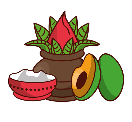 Ugadi indian jars with avocados elements vector illustration graphic design