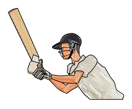 Cricket player with bat vector illustration graphic design